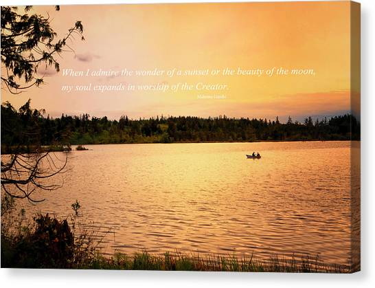Rowing Into The Sunset Canvas Print