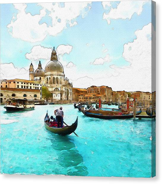 Pontoon Canvas Print - Rowing In Venice by Marian Voicu