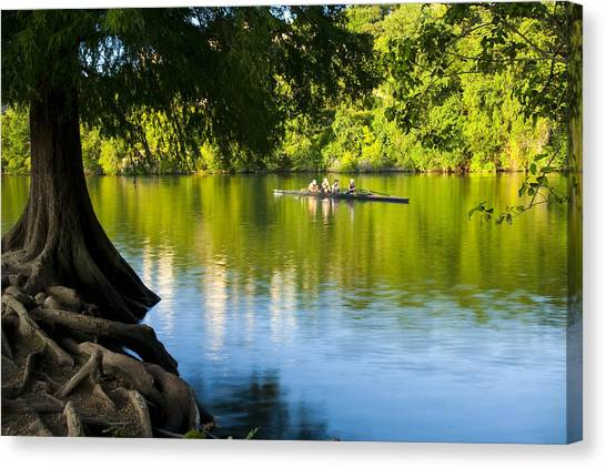 Austin Texas Canvas Print - Rowing Past Red Bud Island by Mark Weaver