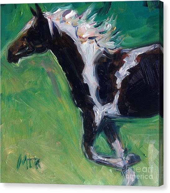 Watercolor Pet Portraits Canvas Print - Paint Horse Oil Painting Roxy by Maria's Watercolor