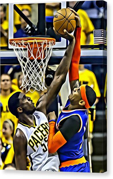 Indiana Pacers Canvas Print - Roy Hibbert Vs Carmelo Anthony by Florian Rodarte