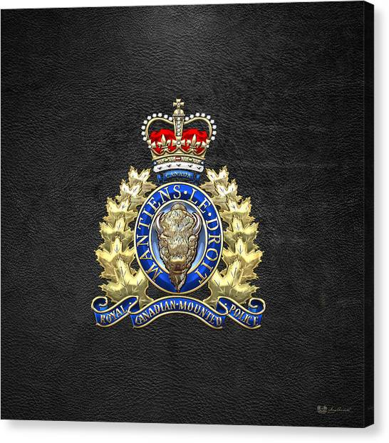 Royal Canadian Mounted Police - Rcmp Badge On Black Leather Canvas Print