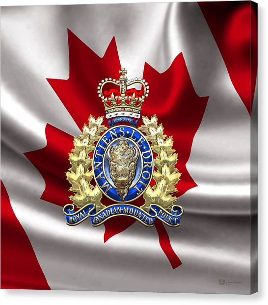 Royal Canadian Mounted Police - Rcmp Badge Over Waving Flag Canvas Print