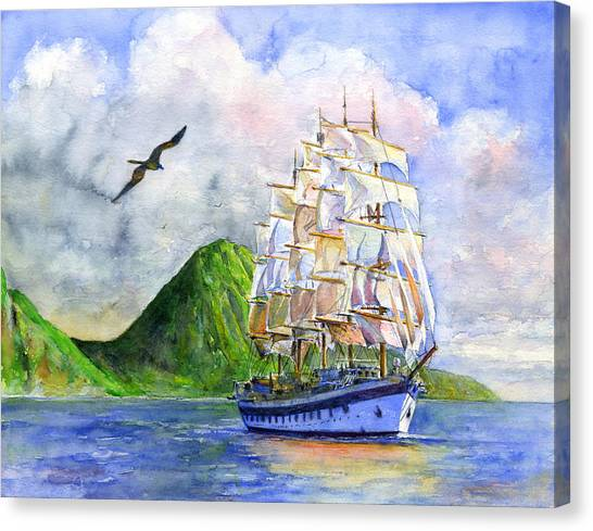 Royal Clipper Leaving St. Lucia Canvas Print