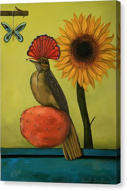 Flycatchers Canvas Print - Royal Flycatcher  by Leah Saulnier The Painting Maniac
