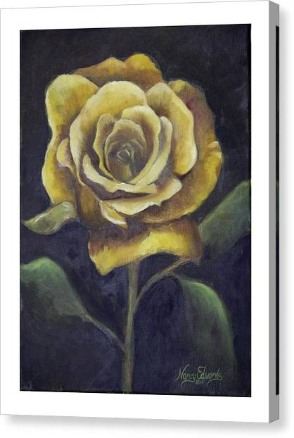 Royal Gold Bloom Canvas Print by Nancy Edwards