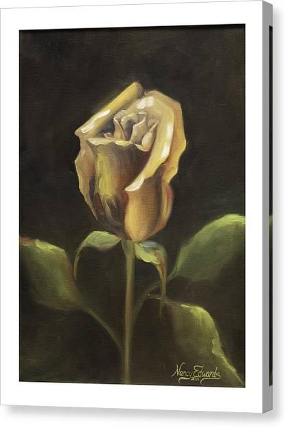 Royal Gold Bud Canvas Print by Nancy Edwards