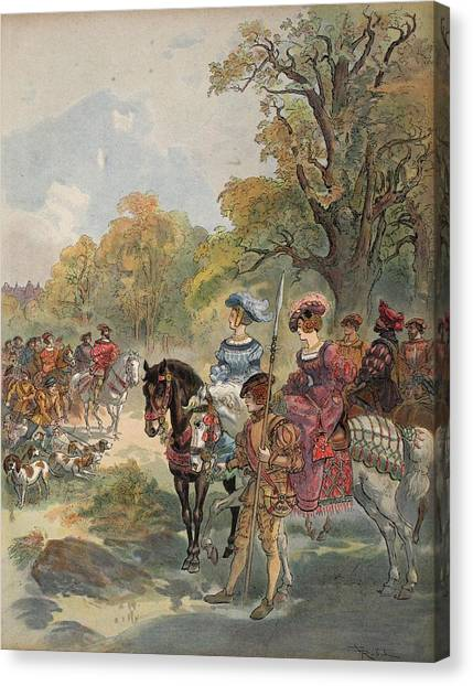 Rulers Canvas Print - Royal Hunt, Illustration From Francois by Albert Robida