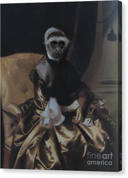 Royal Lady Monkey Human Body Animal Head Portrait Canvas Print by Jolanta Meskauskiene