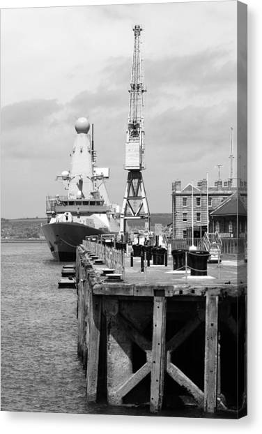 Royal Navy Docks And Hms Defender Canvas Print