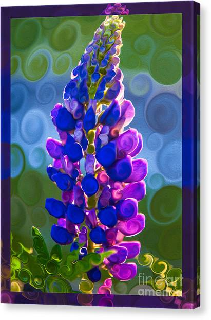 Canvas Print featuring the painting Royal Purple Lupine Flower Abstract Art by Omaste Witkowski