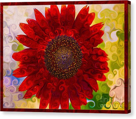 Canvas Print featuring the painting Royal Red Sunflower by Omaste Witkowski