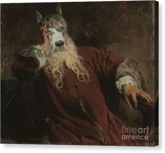Royal The Lord Dog Human Body Animal Head Portrait Canvas Print by Jolanta Meskauskiene