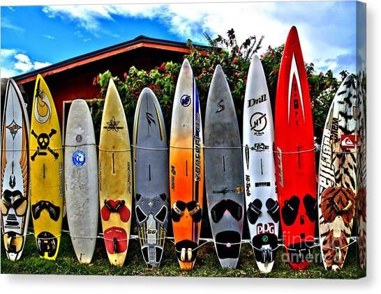 Surfboard Fence Canvas Print - Rt 37 Board Meeting by DJ Florek
