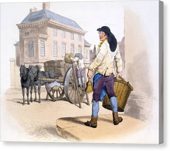 Rubbish Bin Canvas Print - Rubbish Collectors, From The Costumes by William Henry Pyne