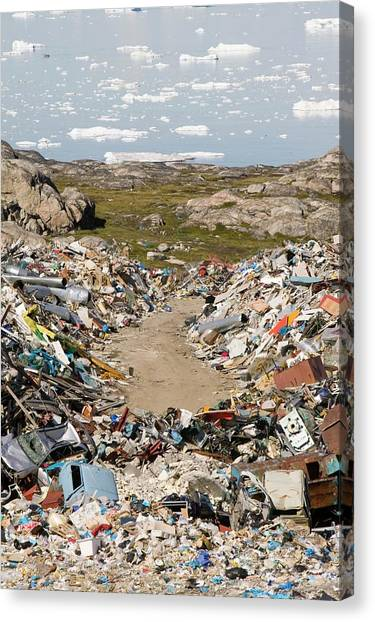 Global Warming Canvas Print - Rubbish Dumped On The Tundra by Ashley Cooper