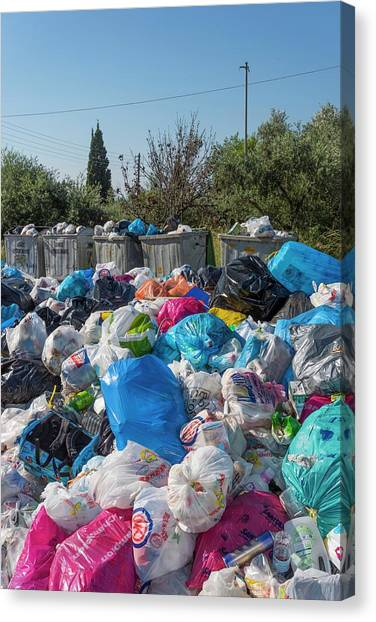 Rubbish Bin Canvas Print - Rubbish Overflow by David Parker/science Photo Library