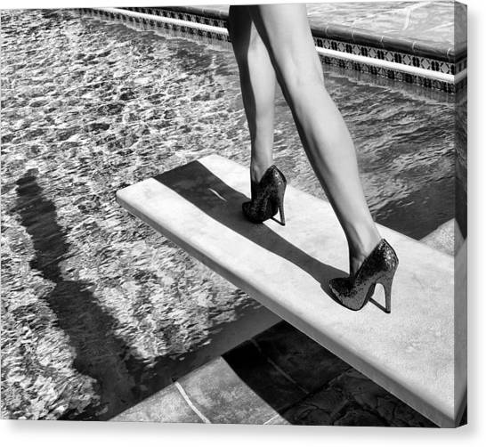 Old Fashioned Canvas Print - Ruby Heels Bw Palm Springs by William Dey