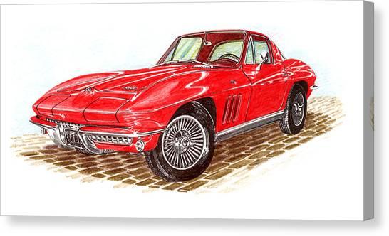 Ruby Red 1966 Corvette Stingray Fastback Canvas Print