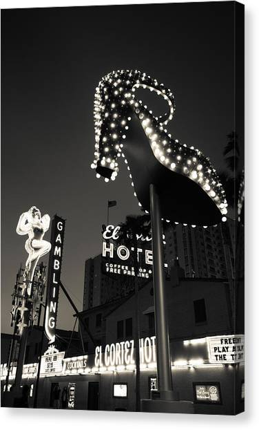 Oversized Canvas Print - Ruby Slipper Neon Sign Lit Up At Dusk by Panoramic Images