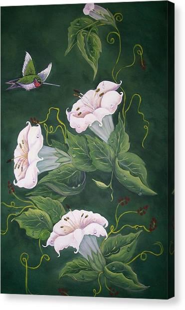 Hummingbird And Lilies Canvas Print