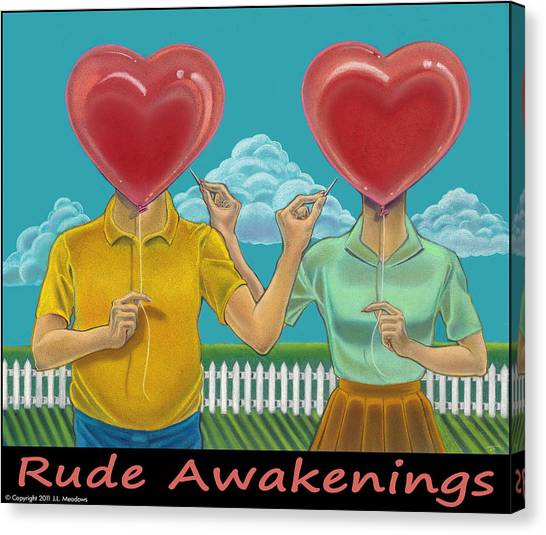 Rude Awakenings With Caption Canvas Print