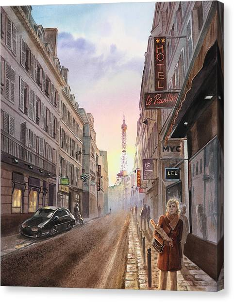 Irina Canvas Print - Rue Saint Dominique Sunset Through Eiffel Tower   by Irina Sztukowski