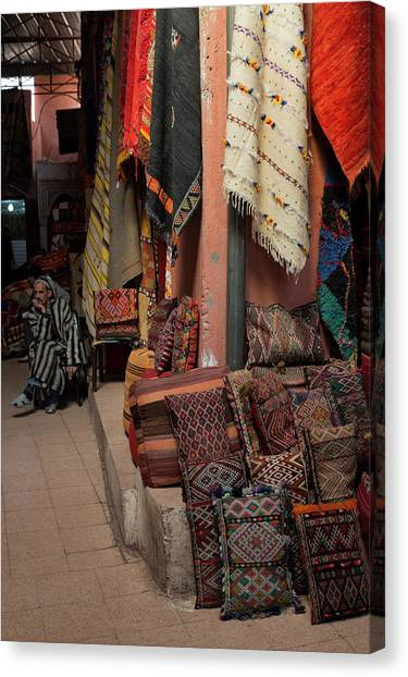 Rugs And Cushions In The Souks Of Canvas Print