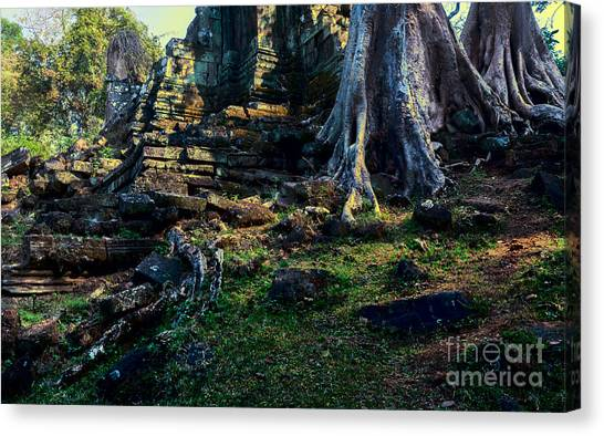 Canvas Print featuring the photograph Ruins And Roots by Julian Cook