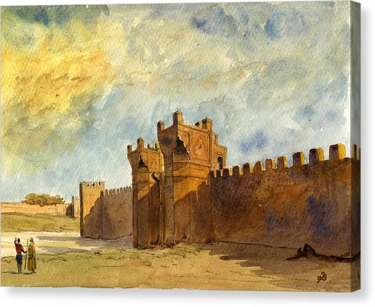 Ancient Art Canvas Print - Ruins Morocco by Juan  Bosco