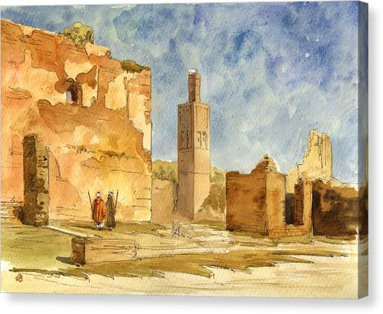 Ancient Art Canvas Print - Ruins Of Chellah  by Juan  Bosco