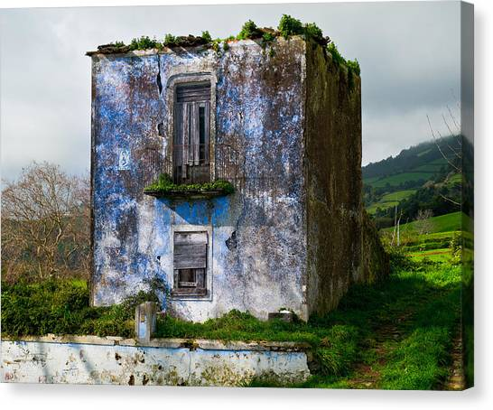 Ruins Of House Painted Blue Canvas Print
