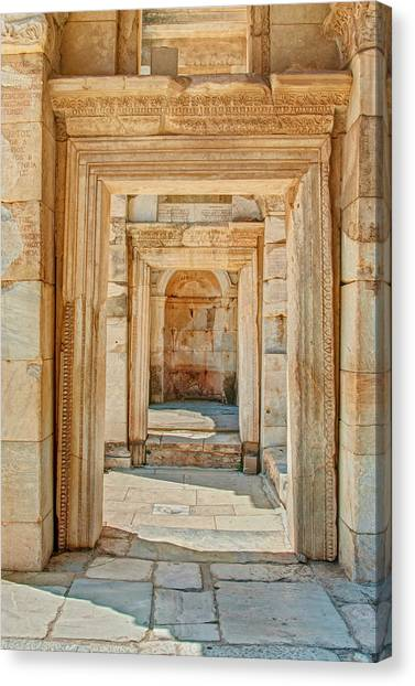 Ruins Or Ancient Stone Corridor With Canvas Print