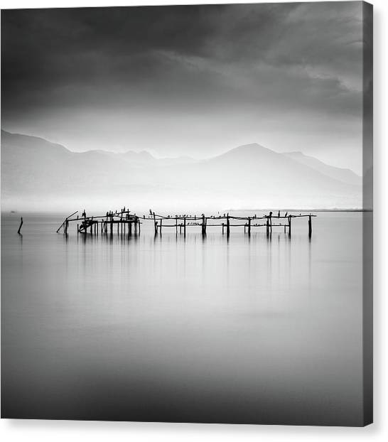 Pier Canvas Print - Ruins With Birds II by George Digalakis