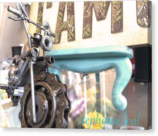 Blue Camo Canvas Print - Motorcycle  by Stephanie Leal
