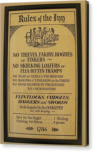 Rules Of The Inn Irish Pub Sign Canvas Print