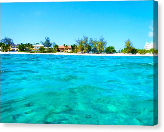 Rum Canvas Print - Rum Point Swim by Carey Chen