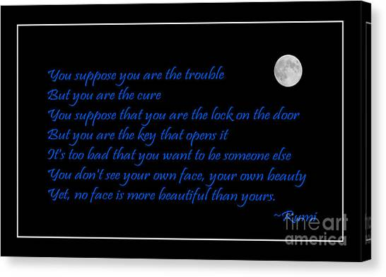 Rumi Quote - Beauty - Loving You Canvas Print