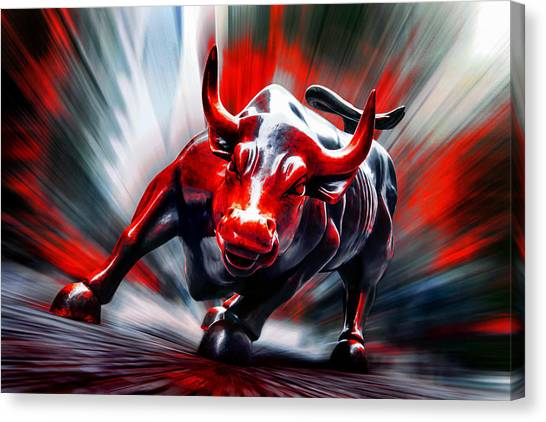 Bulls Canvas Print - Run by Az Jackson
