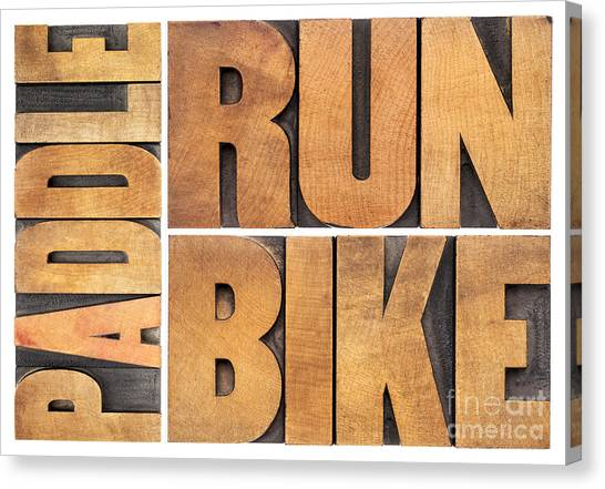 Run Bike Paddle - Triathlon Concept Canvas Print