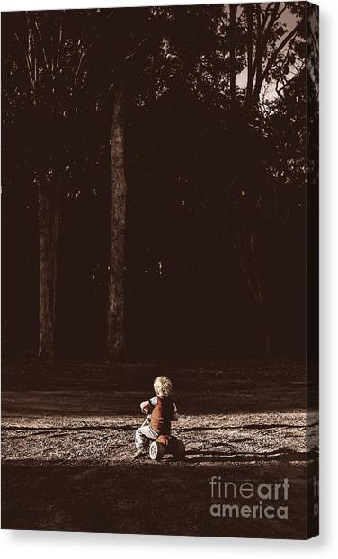 Dirt Bikes Canvas Print - Runaway Child Riding Tricycle At Old Dark Forest by Jorgo Photography - Wall Art Gallery