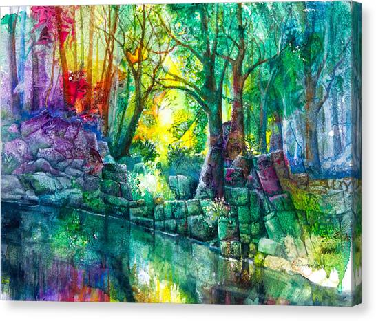 Hidden Face Canvas Print - Runes By The Stream by Patricia Allingham Carlson