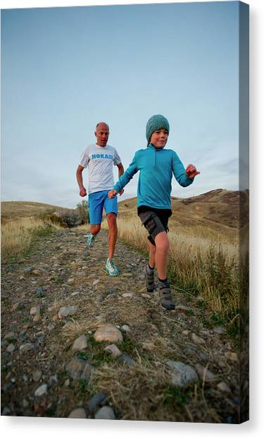 Real Salt Lake Canvas Print - Runners On Trail, Salt Lake City, Utah by Scott Markewitz