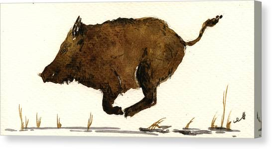 Hogs Canvas Print - Running Boar by Juan  Bosco