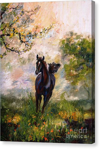 Running Free Horse Painting Canvas Print