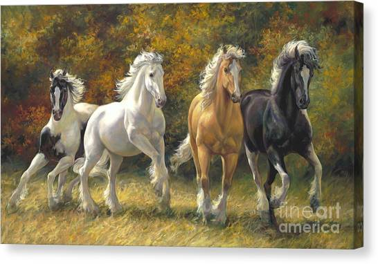 Draft Horses Canvas Print - Running Free by Laurie Hein