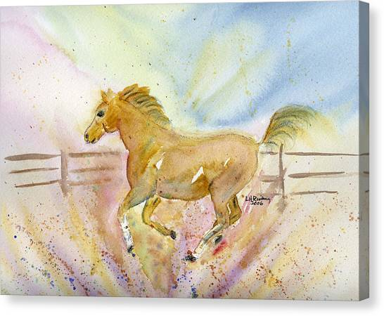 Canvas Print featuring the painting Running Horse by Linda Feinberg