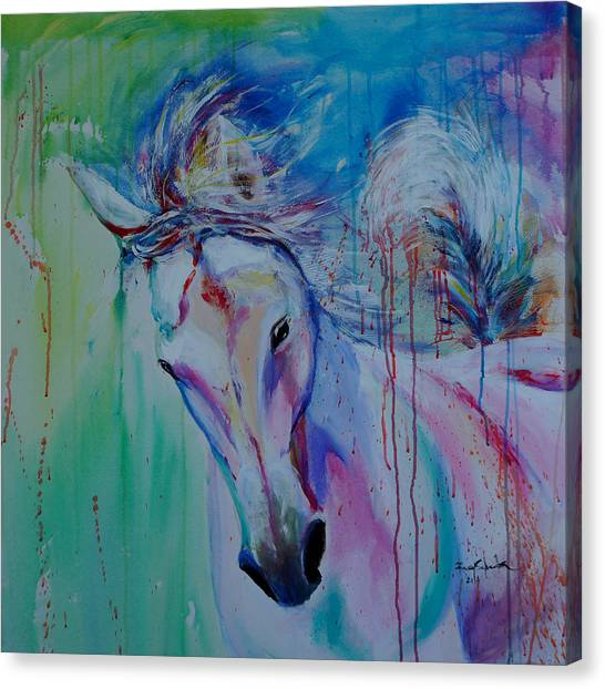 Hanoverian Canvas Print - Running In Shades Of Pink And Blue by Isabel Salvador
