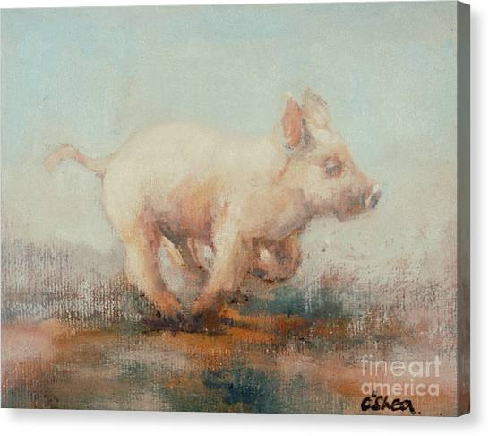 Pig Farms Canvas Print - Running Piglet by Ellie O Shea