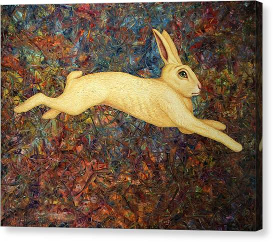 Running Canvas Print - Running Rabbit by James W Johnson